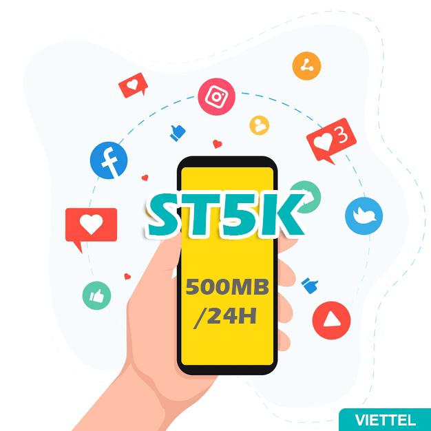 Gói ST5K Viettel có ngay 500MB đến hết 24h cùng ngày