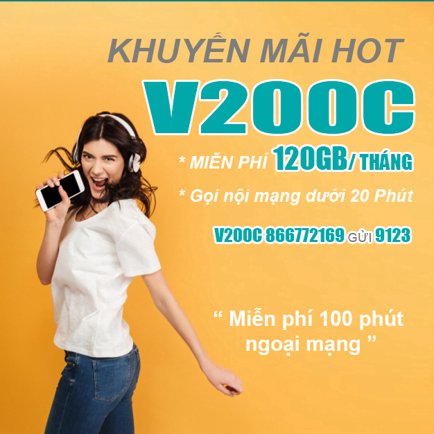 Đăng ký gói V200C Viettel miễn phí 60GB & Gọi nội mạng dưới 20p