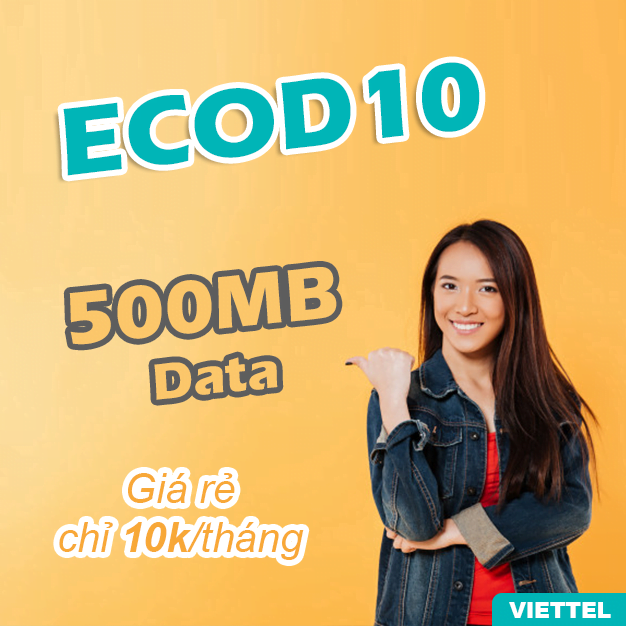 Gói ECOD10 Viettel có ngay 500MB/ tháng chỉ 10.000đ