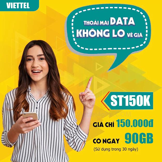 Gói ST150K Viettel miễn phí 3GB/ngày x 30 ngày