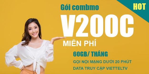 Gói V200C Viettel miễn phí 60GB & Gọi nội mạng dưới 20p