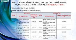 Điều Chỉnh Bộ Gói Vxx Cho Thuê Bao Di Động Trả Sau Phát Triển Mới Từ 05/08/2020