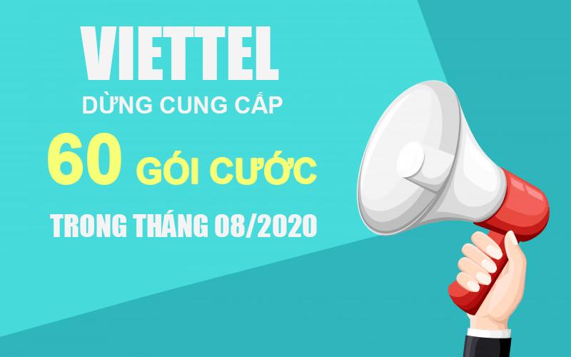 Viettel dừng cung cấp 60 gói cước cho khách hàng trong tháng 08/2020