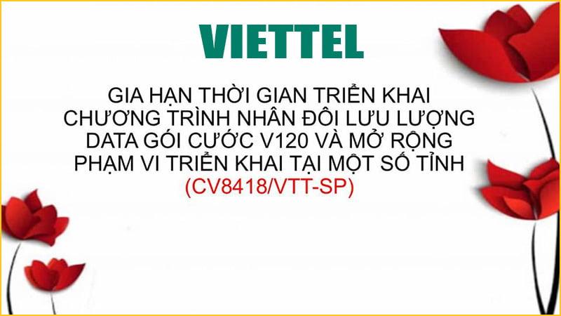 Gia hạn và mở rộng chương trình nhân đôi Data gói V120 Viettel