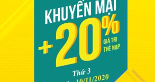 HOT: Viettel tặng 20% giá trị thẻ nạp ngày vàng 10/11/2020
