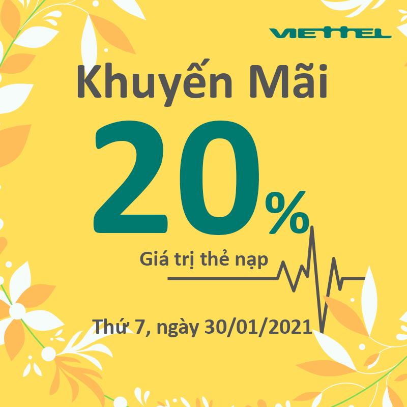 HOT: Viettel khuyến mãi tặng 20% giá trị ngày 30/01/2021