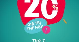 HOT: Viettel tặng 20% giá trị thẻ nạp ngày 27/02/2021