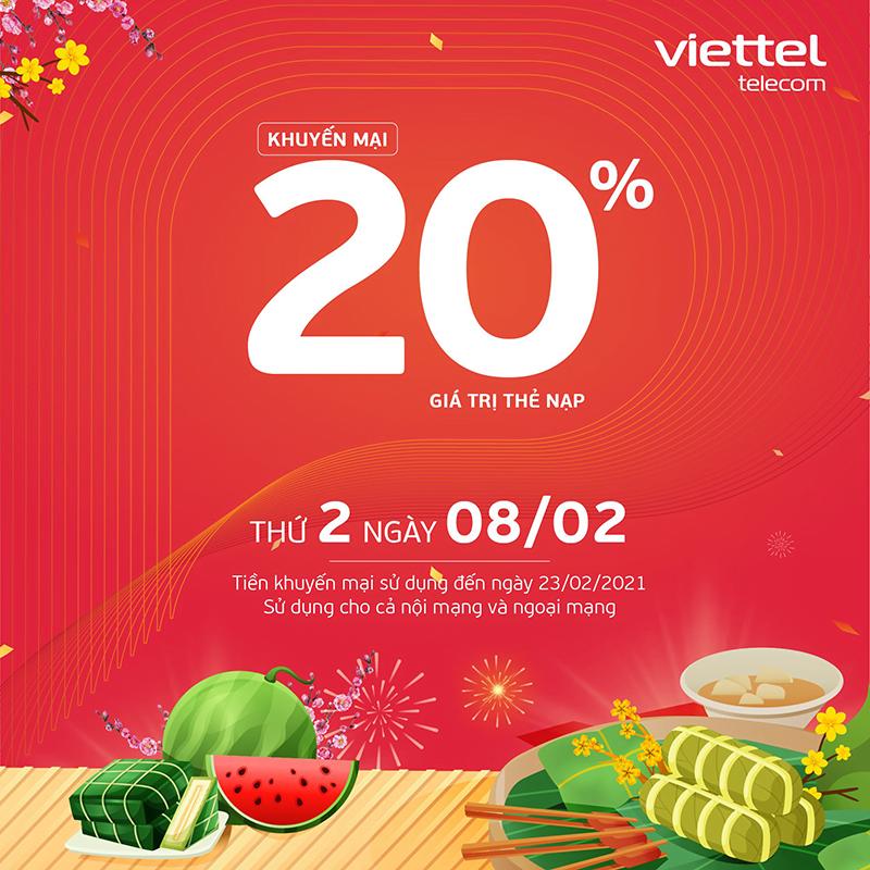 HOT: Viettel tặng 20% giá trị thẻ nạp ngày 08/02/2021
