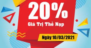 HOT: Viettel tặng 20% giá trị thẻ nạp ngày 10/03/2021