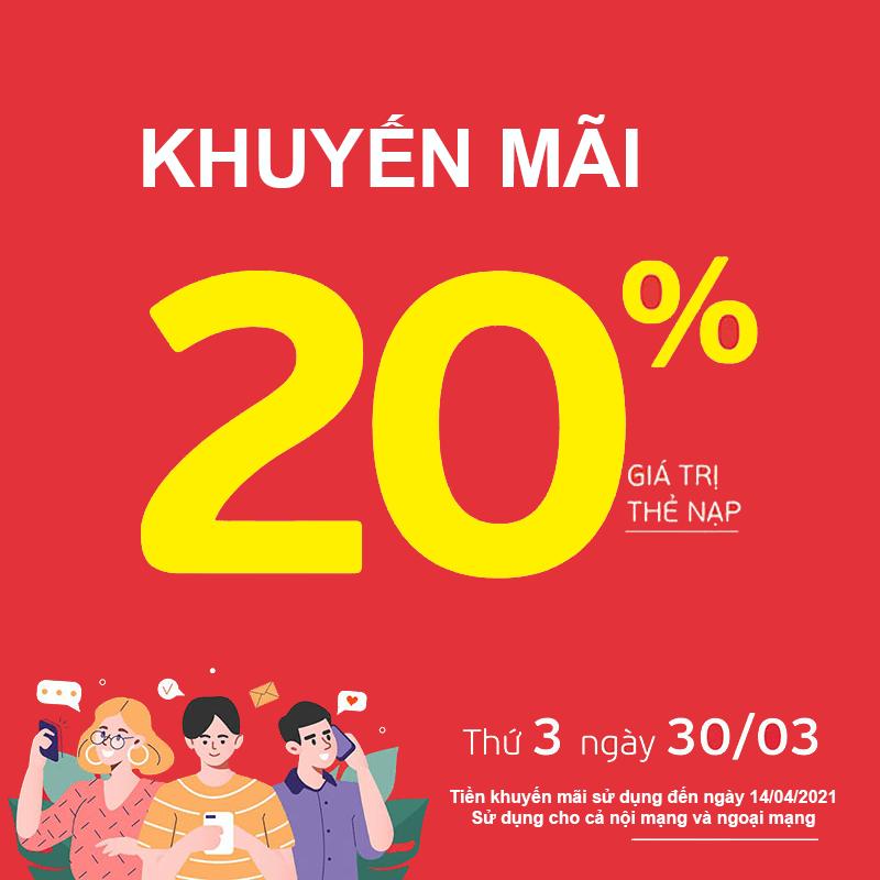 HOT: Viettel tặng 20% giá trị thẻ nạp ngày 30/03/2021