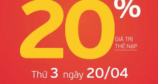 HOT: Viettel tặng 20% giá trị thẻ nạp ngày 20/04/2021