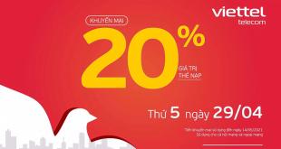 HOT: Viettel tặng 20% giá trị thẻ nạp ngày 29/04/2021