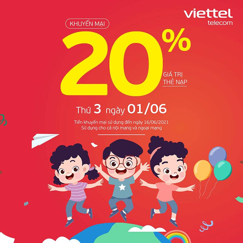 HOT: Viettel tặng 20% giá trị thẻ nạp ngày 01/06/2021