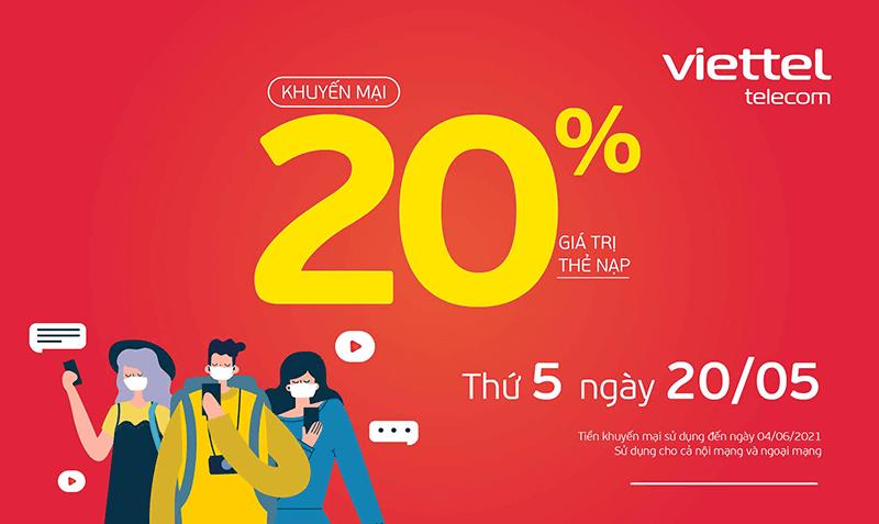 HOT: Viettel tặng 20% giá trị thẻ nạp ngày 10/05/2021