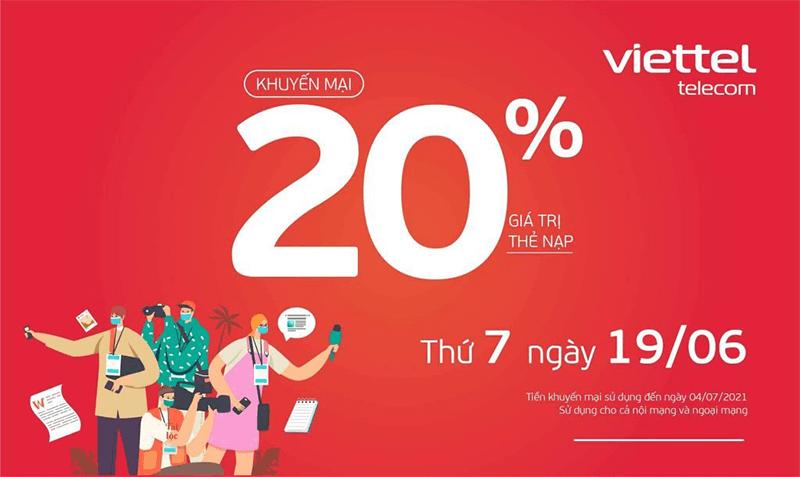 HOT: Viettel tặng 20% giá trị thẻ nạp ngày 19/06/2021