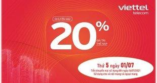 HOT: Viettel tặng 20% giá trị thẻ nạp ngày 01/07/2021
