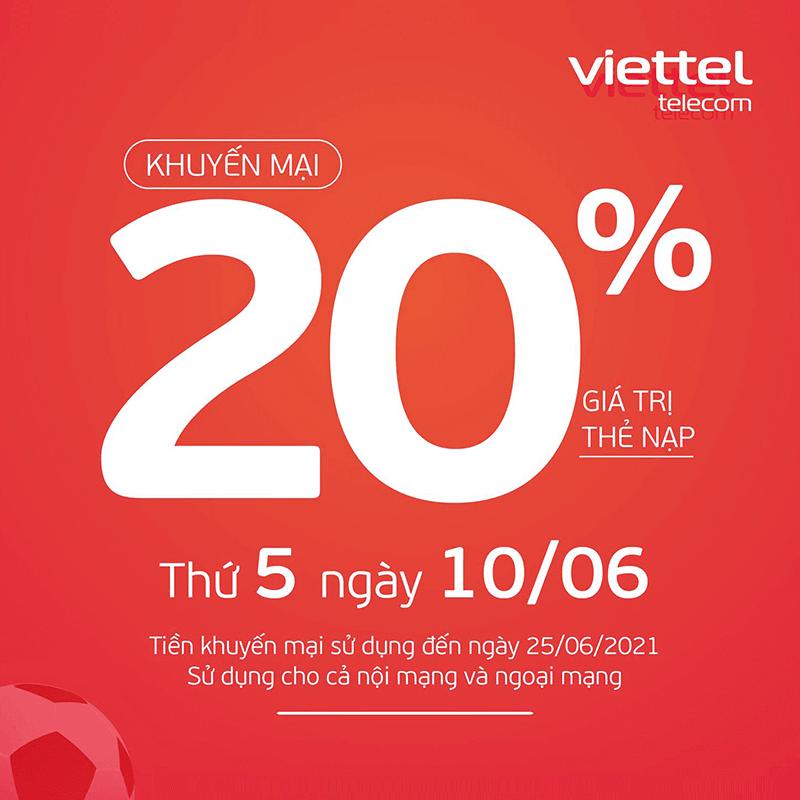 HOT: Viettel tặng 20% giá trị thẻ nạp ngày 10/06/2021