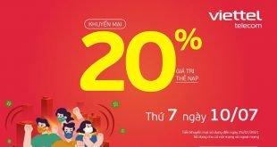 HOT: Viettel tặng 20% giá trị thẻ nạp ngày 10/07/2021