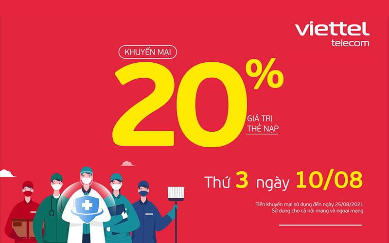 HOT: Viettel tặng 20% giá trị thẻ nạp ngày 10/08/2021