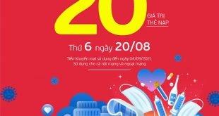 HOT: Viettel tặng 20% giá trị thẻ nạp ngày 20/08/2021