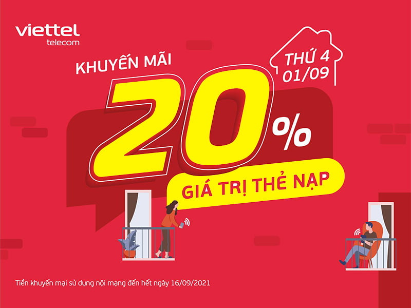 HOT: Viettel tặng 20% giá trị thẻ nạp ngày 01/09/2021