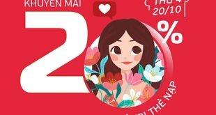 HOT: Viettel khuyến mãi tặng 20% giá trị thẻ nạp ngày 20/10/2021